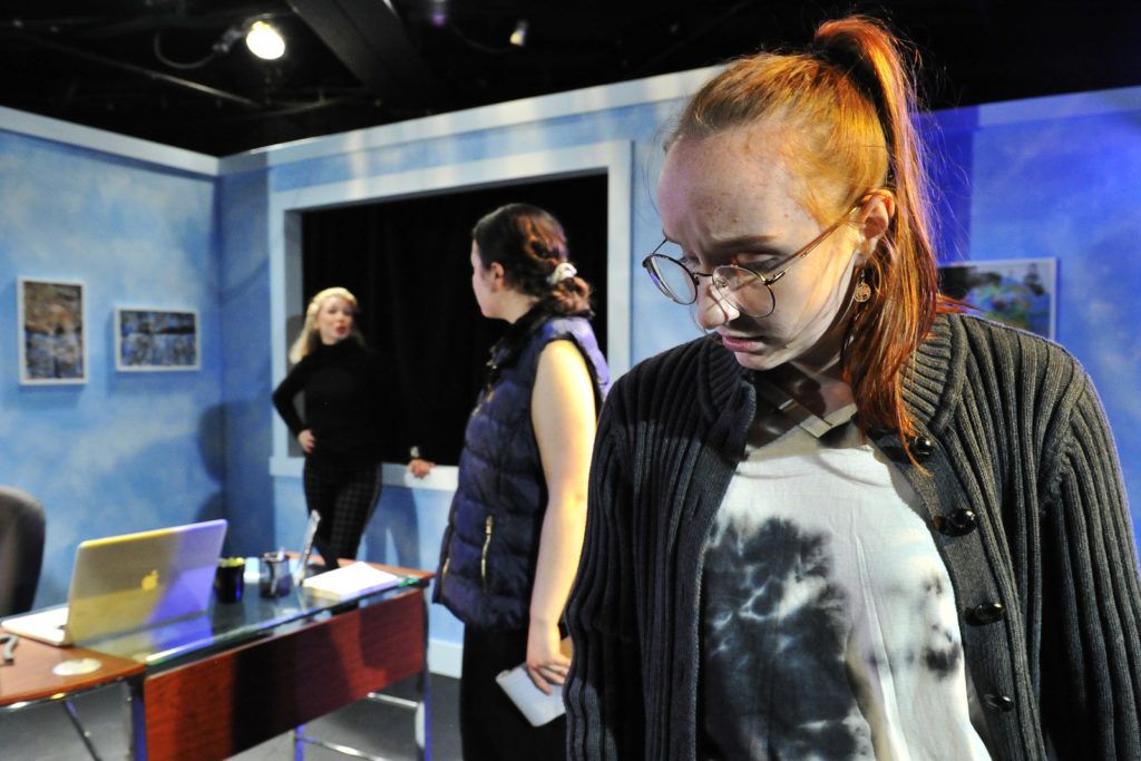 Chelsea Janzen, McKenzie Potter-Moan, Fiona Jenkins. Burst (Theatre 33 2019). By Dale Peterson www.dalempeterson.com